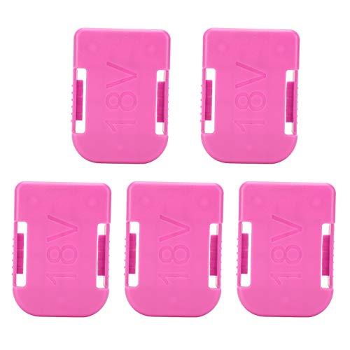 Mxzzand Soporte de batería de Herramientas de plástico ABS de 18 V, Color Rosa, Duradero, 5 Piezas, Soporte de batería con Tornillo para batería de Herramientas Makita/Bosch para Panel de Taller