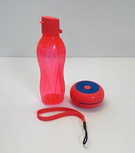 TUPPERWARE To Go Eco 500 ml mit einem Band erdbeerrot Trinkflasche Ecoflasche +Flexi Twin rund