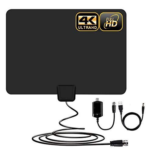 [Newest]Indoor Amplified HD Digital TV Antenna up to 100+ Miles Range -PACOSO HDTV Antenna with Amplifier Signal Booster for 4K 1080p Fire tv Stick Local Channels and All TV's ,Long Coaxial Cable