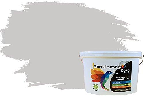 RyFo Colors Bunte Wandfarbe Manufakturweiß Hellgrau 10l - weitere Grau Farbtöne und Größen erhältlich, Deckkraft Klasse 1, Nassabrieb Klasse 1