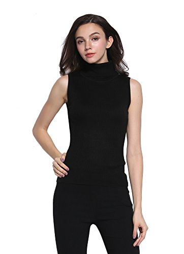Sofishie Sleeveless Ribbed Turtle Neck Sweater Tunic - Black - Large