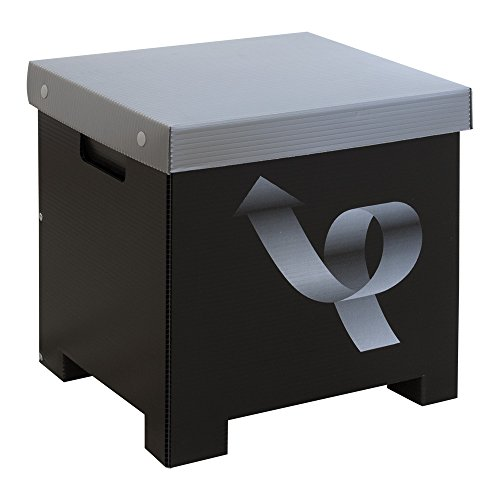 Recyclingbin.com PaperTaker Newspaper Recycle Bin Black and Silver