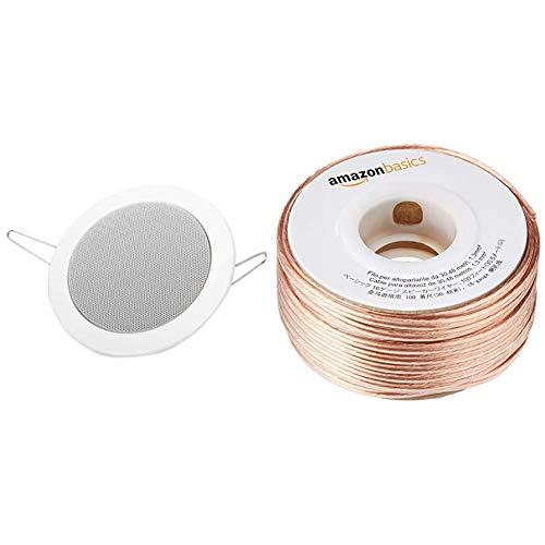 Visaton 50110 Lautsprecher DL 10 8 Ohm weiß & AmazonBasics Lautsprecherkabel 1,3 mm² / 16 Gauge, 30,48 m (100 Fuß)