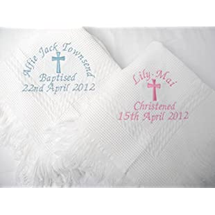 Christening/baptism personalised shawl with big cross in white or cream (white)