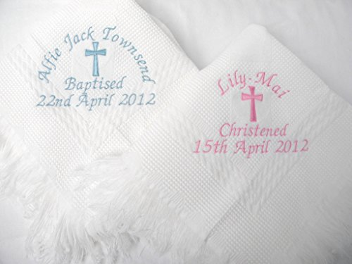 Christening/Baptism Personalised Shawl with Big Cross in White or Cream (Cream)