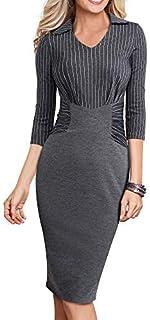 HOMEYEE Women's 3/4 Sleeve Stripe Professional Business Pencil Dress B479