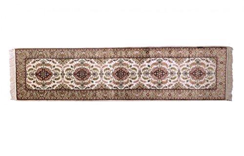 Nain Trading Herike Seide 305x76 Orientteppich Teppich Läufer Beige/Dunkelbraun Handgeknüpft China