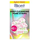 Bioré Deep Cleansing Pore Strips, Party Pack Nose Strips for Blackhead Removal & Instant Pore Unclogging, 42 Count, features C-Bond Technology, Oil-Free, Non-Comedogenic