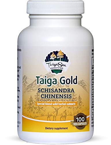 TAIGASEA Schisandra Chinensis Supplement, Wild Siberian Herbal Extract Blend for Mental Focus, Sharp Brain Functions, Enhanced Energy Metabolism, Liver Detox, Immunity Boost, 100 Vegetarian Capsules