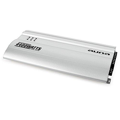 AUNA Silverhammer Amplificador para Coche - 4 Canales, 4400 W Máx, Puenteable, Super Bass, Reguladores de Sonido en Panel Frontal, Compacto, Entradas RCA, Aluminio