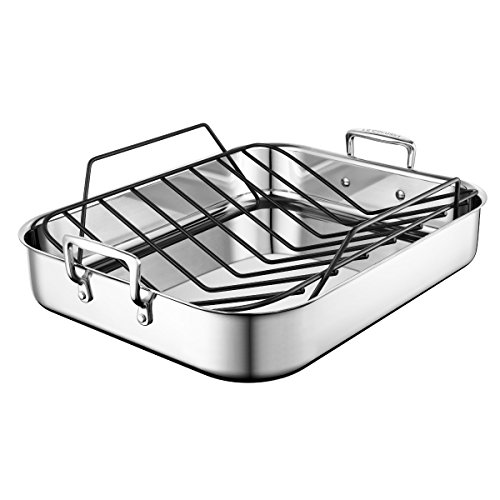 Le Creuset SSC8612-40P Stainless Steel Large Roasting Pan With Nonstick Rack, 16.25 x 13.25-Inch