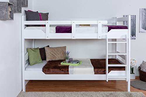 Etagenbett für ErwachseneEasy Premium Line K3/n, Buche Vollholz massiv weiß lackiert - Maße: 90 x 200 cm, teilbar