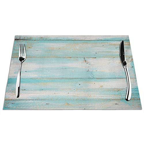 Juego de 6 manteles individuales de madera de color azul viejo con estampado de tablones de madera, resistentes a las manchas para mesa de comedor, cocina, antideslizantes, resistentes al calor