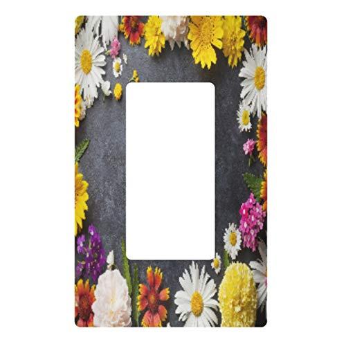 Placa decorativa de pared con interruptor de luz, cubierta de placa de interruptor de mármol de flores, cubiertas de toma eléctrica para dormitorio, cocina, decoración del hogar
