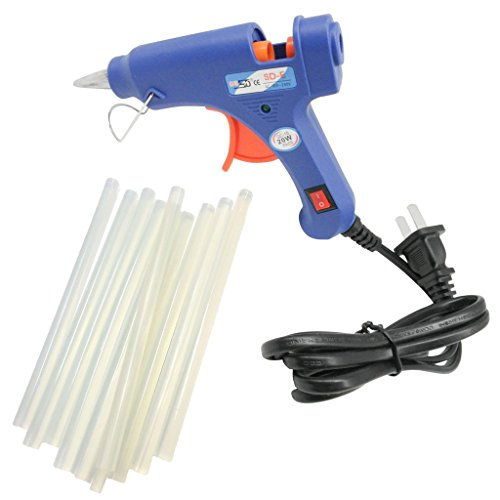 TrendBox Hot Melt Glue Gun 20W + 10 Glue Sticks 0.7x27cm LED Light Indicator Melting Adhesive Handmade Craft DIY Home Fix & Repairs Items