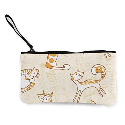 Monedero de lona con diseño de gato pequeño