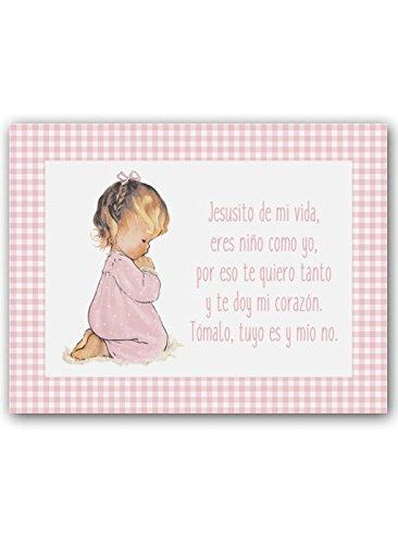 CUADRIMAN Cuadro de Niña Rezando con Oración - Pequeño - Lienzo Vichy Rosas - 25 x 32 cm - Decoración para El Dormitorio o Habitación