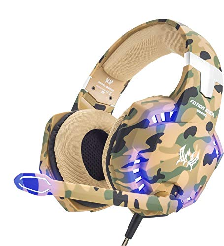 KOTION Each G2600 Gaming Headset for PS4,PC,Xbox One,Professional Noise Lsolation, Over Ear Headphones with Mic,LED Light,Bass Surround,Soft Memory Earmuffs,Gaming Headphones-Camo