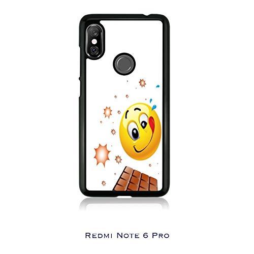 Generico Cover Xiaomi Redmi Note 6 PRO Whatsapp Emoticon golosone tavoletta Cioccolato/Custodia TPU e Alluminio/Case Anticaduta Antiscivolo AntiGraffio Antiurto Protettiva Gomma