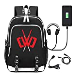 School Bag Laptop Backpack with USB Charging Port Daypack for Travel Hiking Camping 17.32''x12.60''x5.91''