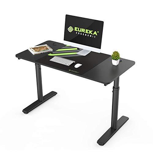 EUREKA ERGONOMIC Höhenverstellbarer Schreibtisch 120cm Schreibtisch Computertisch PC Tisch und Einfacher PC Computertisch mit Gaming Mauspad für das Home Office Schwarz (120 x 60 cm)