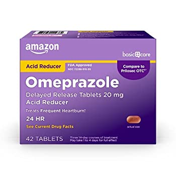 Amazon Basic Care Omeprazole Delayed Release Tablets 20 mg Acid Reducer treats frequent heartburn 42 Count  Pack of 1