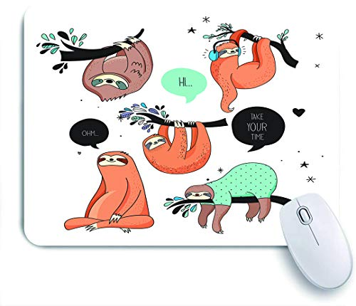 VANKINE Mouse Pad Cartoon Style Illustration Tribe of Sloths Smiles Sleeping Lazy Does Yoga with Quote Non-Slip Rubber Gaming Mouse Pad Rectangle Mouse Pads for Computers Laptop