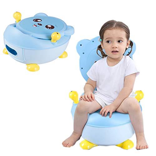 RELAX4LIFE Kindertoilette mit Griffen, ergonomisches Kinder-Töpfchen, Toilettentrainer mit rutschfesten Füßen, Toilettensitz mit abnehmbarem Behälter, Toilettentraining für Babys ab 6 Monate (Blau)