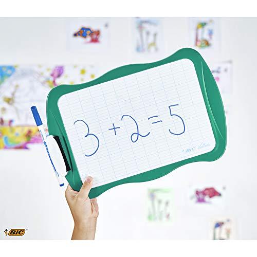BIC 967261 Velleda Pizarra Reciclable con marcador azul y borrador, color verde, 21 x31 cm