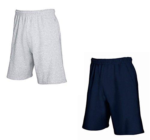 2er-Pack Fruit of The Loom Herren Kurze Sporthosen Jogginghosen Lightweight Shorts (XL, Grau & Navy)