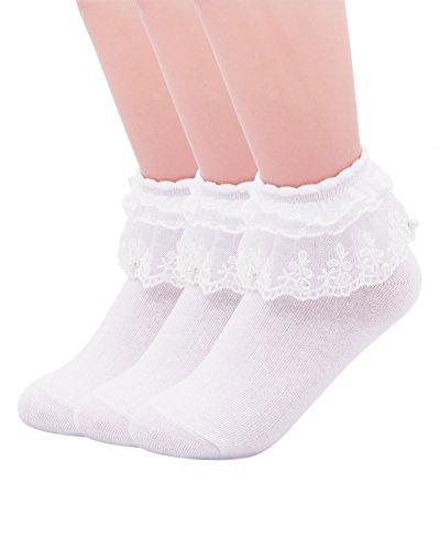 SEMOHOLLI Women Ankle Socks,Pearl Lace Ruffle Frilly Comfortable No-Show Cotton Socks Princess Socks Lace Socks (3 Pairs-white)
