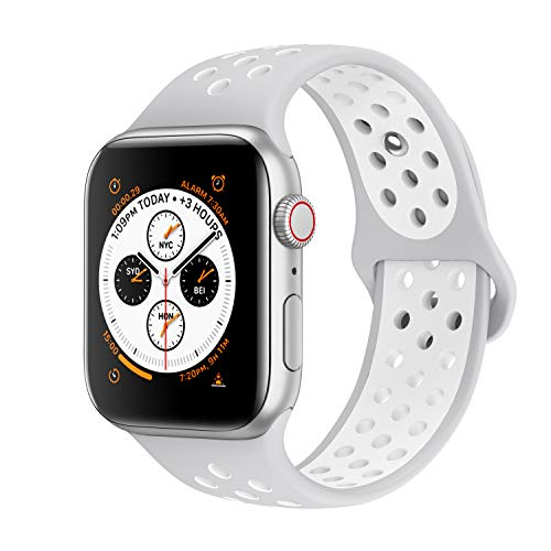 AdMaster Compatible with Apple Watch Bands 42mm 44mm,Soft Silicone Replacement Wristband Compatible with iWatch Series 1/2/3/4 -M/L Pure Platinum/White