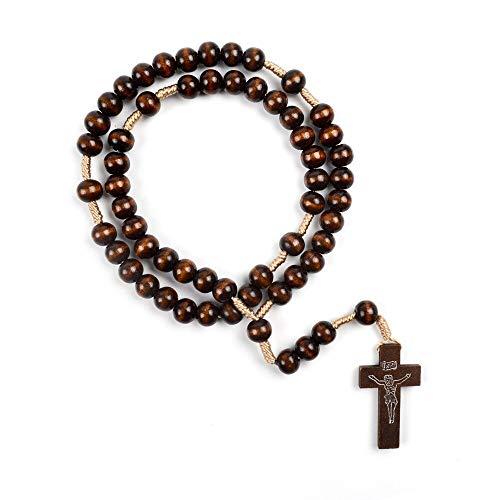 SWAOOS Adornos Collar de Rosario de Madera Tejido a Mano Catolicismo religioso Colgante de Cruz Cadena de Cuerda Regalo de joyería Unisex