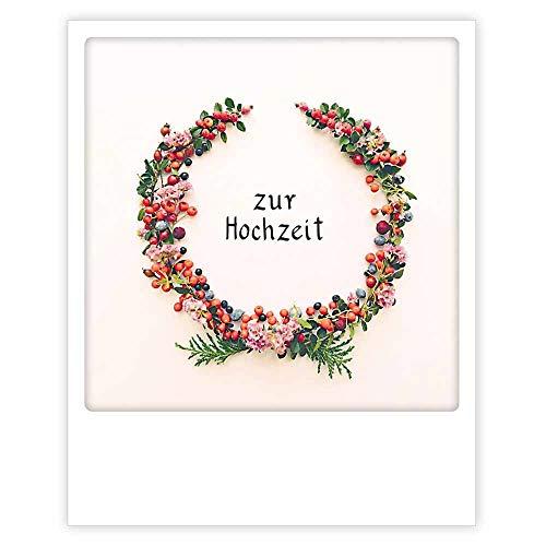 PICKMOTION Photo Postkarte Zur Hochzeit Im Polaroid-Stil, Designed In Berlin- 1 Stück, mehrfarbig, ZG-0802-DE-A