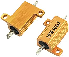 Uxcell a14010900ux0147 2 Piece Chassis Mounted Yellow Aluminum Housed Clad Resistors, 10W 50 Ohm
