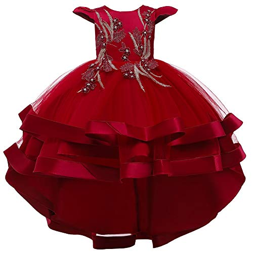 HIHCBF Little Big Girls Flower High Low Tulle Dress Princess Wedding Pageant Birthday Party Formal Evening Dance Ball Gown Deep Red 9-10T