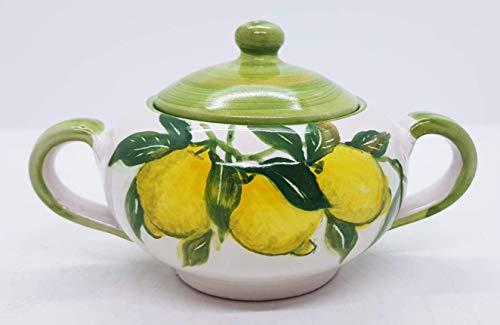 Zuccheriera Linea Limoni Ceramica Realizzata e Dipinta a mano Le Ceramiche del Castello Made in Italy dimensioni l 17 x h 10 centimetri