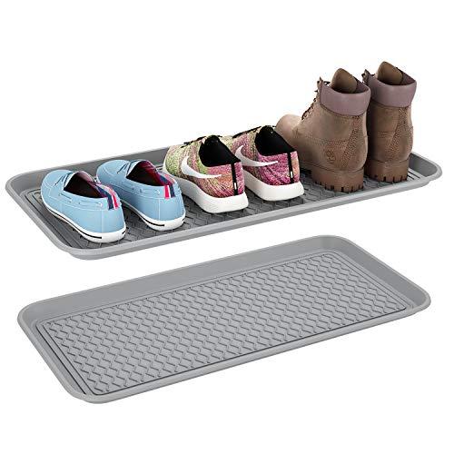 Homfa 2 Bandejas Zapatos Mojados Bandeja Plástica para Plantas Alfombra Comedero Perro y Gato Gris 76x38x3cm