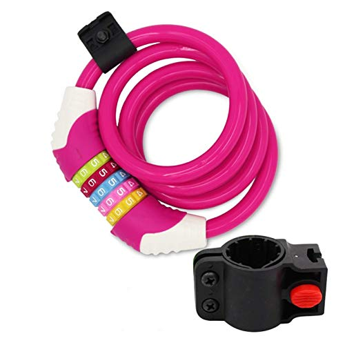 XIEZI Bicycle Bassword Lock Home Gyms Bike Lock/Bicycle Chain/Cycling Lock (4 Colors) 5-Digitls Codes Resettable 100,000 Codes for Bike Cycle, Moto, Door, Gate Fence 100Cm Length (Color : Pi