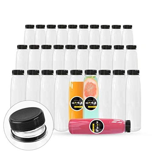 36 Pack Empty PET Plastic Juice Bottles 12 OZ Clear Disposable Bulk Drink Bottles with Black Tamper Evident Caps Lids (12 OZ, Black)