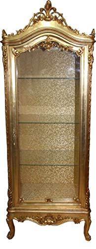 Casa Padrino Barock Vitrine Gold H 200 cm, B 70 cm, Tiefe 45 cm - Vitrinenschrank - Wohnzimmerschrank