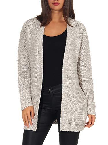 Vero Moda Vmno Name LS Cardigan Noos Chaqueta Punto, Gris (Light Grey Melange Light Grey Melange), 42 (Talla del Fabricante: Large) para Mujer