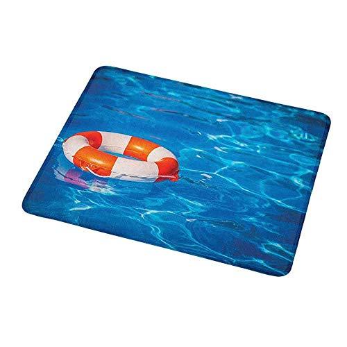 Schwimmmatte aus umweltfreundlichem Gummi, Rettungsring im Schwimmbad in kristallklarem Sommer, Feriensport-Thema, Blau Orange Weiß für MPD-2661