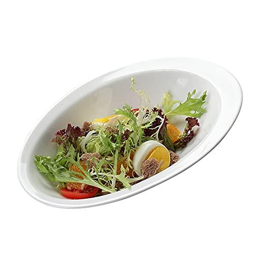 Cuenco de cerámica blanco, tazón de ensalada de frutas, tazón alto y bajo, plato especial para pasta, tazón de fideos de arroz horneado, ensaladera (9 pulgadas)