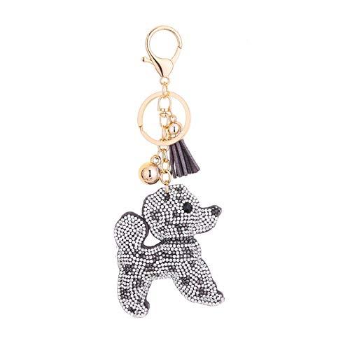 Girl Key Chain, European High-End Drilling Dog Shape Gray Velvet Love Pendant Key Chain Key Ring Pendant, Fashion Accessory Couple Friend Lover Girl Festival Gift