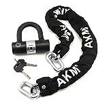 AKM Security Bike Chain Lock Heavy Duty Bicycle Lock Bike Disc Lock with 16mm U Lock,Motorbike Lock Black (3)