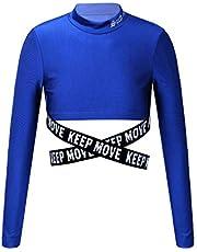 YOOJIA Top Corto con Cintura Cruzada para Niñas Camiseta Deportiva de Manga Larga Crop Top para Yoga Gimnasia Estampado de Letras