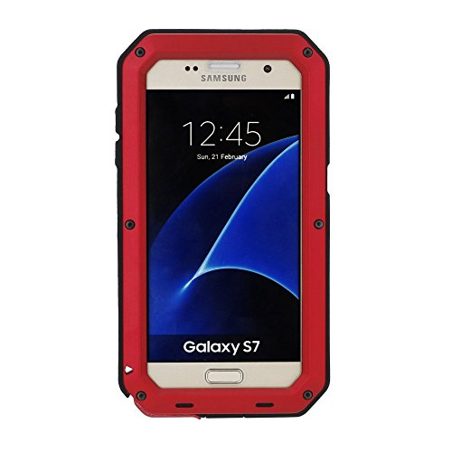 Galaxy S7 Case,Mangix 3C-Aone Gorilla Glass Luxury Aluminum Alloy Protective Metal Extreme Shockproof Military Bumper Finger Scanner Cover Shell Case Skin Protector for Samsung Galaxy S7 (Red)