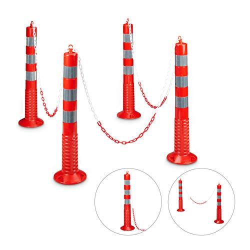 Relaxdays - 4 Postes/barreras de Aparcamiento con Cadena, Hecho de plástico, 75 x 22 x 22 por Cada Poste, Peso 1.3 Kg de Cada Poste, Color Rojo y Plateado