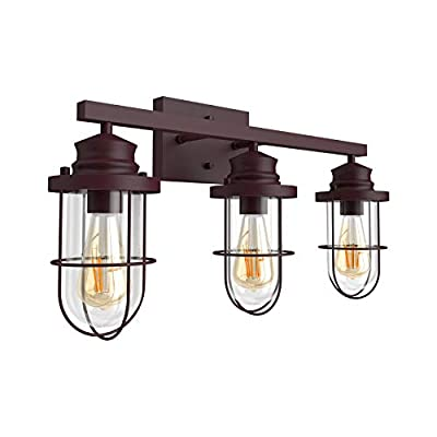 Tipace Industrial 3 Lights Bathroom Light Fixture Oil Rubbed Bronze Metal with Clear Glass Vintage Vanity Lighting(Exclude Bulb)